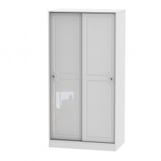Balmoral Tall Sliding Door Wardrobe in White High Gloss with Crystal Effect Handles