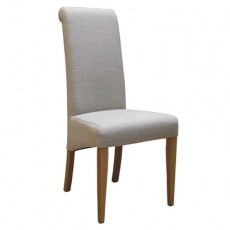 Beige Fabric Dining Chair with Oak Legs