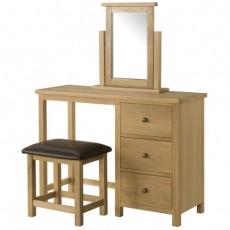 Bedford Light Oak Dressing Table, Stool & Mirror