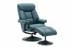 Biarritz Plush Recliner Chair and Footstool in Lagoon