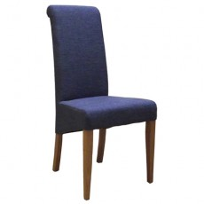 Blue Fabric Dining Chair with Oak Legs