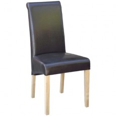 Brown Faux Leather Dining Chair with Oak Legs
