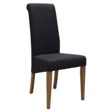Charcoal Fabric Dining Chair with Oak Legs