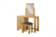 Avondale Waxed Oak 3 Drawer Vanity Dressing Table & Stool