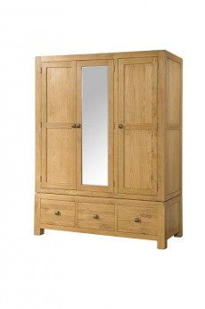 Avondale Waxed Oak Triple Wardrobe with 3 Drawers and Mirror