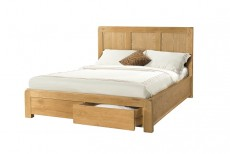 Avondale Waxed Oak 5ft King Size Bed Frame with 2 Storage Drawers