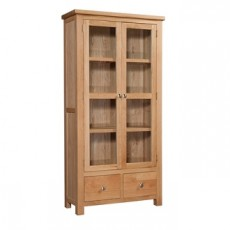 Dorchester Oak 2 Door 2 Drawer Display Cabinet