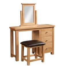 Dorchester Oak Single Pedestal Dressing Table with Stool