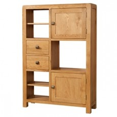 Avondale Waxed Oak High 2 Door 2 Drawer Display Unit
