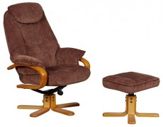 Harlow Reclining Armchair with Footstool in Chocolate Chenille Fabric