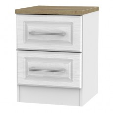 Kent 2 Drawer Bedside Locker in White Ash and Oak
