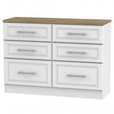 Kent 6 Drawer Midi Chest in White Ash and Oak