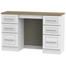Kent 6 Drawer Kneehole Dressing Table in White Ash and Oak