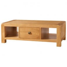 Avondale Waxed Oak Large Coffee Table with Drawer
