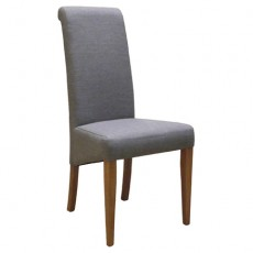Light Grey Fabric Dining Chair with Oak Legs