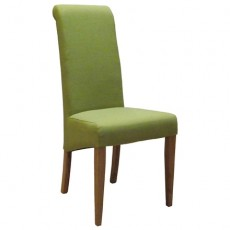 Lime Fabric Dining Chair with Oak Legs