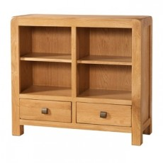 Avondale Waxed Oak Low Bookcase with 2 Drawers