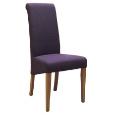 Mauve Fabric Dining Chair with Oak Legs