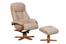 Nice Reclining Chair and Footstool in Dune Fabric