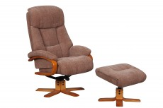 Nice Reclining Chair and Footstool in Fawn Fabric
