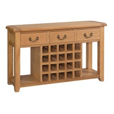 Somerville Light Oak Waxed Open Sideboard with Wine Rack