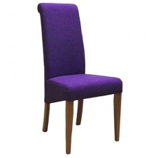 Purple Fabric Dining Chair with Oak Legs