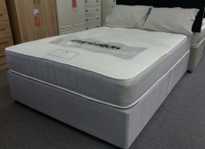 Roma Open Coil Sprung King Size 5ft Divan Set in Light Grey Fabric