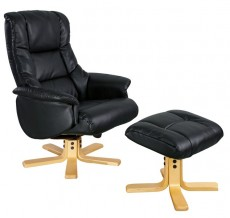 Ridsdale Bellisimo Leather Recliner Armchair and Footstool in Black