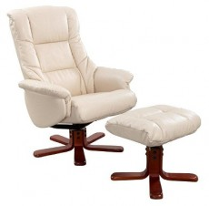 Ridsdale Bellisimo Leather Recliner Armchair and Footstool in Cream