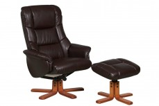 Ridsdale Bellisimo Leather Recliner Armchair and Footstool in Nut Brown
