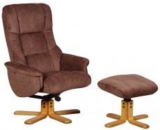Derwent Chenille Fabric Reclining Armchair and Footstool in Chocolate