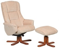 Derwent Chenille Fabric Reclining Armchair and Footstool in Beige