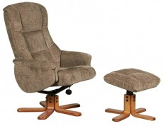 Derwent Chenille Fabric Reclining Armchair and Footstool in Mink