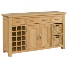 Siento Light Oak Large 2 Door 3 Drawer Sideboard with Wine Rack