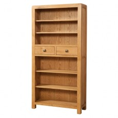 Avondale Waxed Oak Tall Bookcase with 2 Drawers
